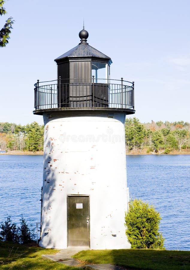 Whitlocks磨房灯塔,加来,缅因,美国 免版税库存图片