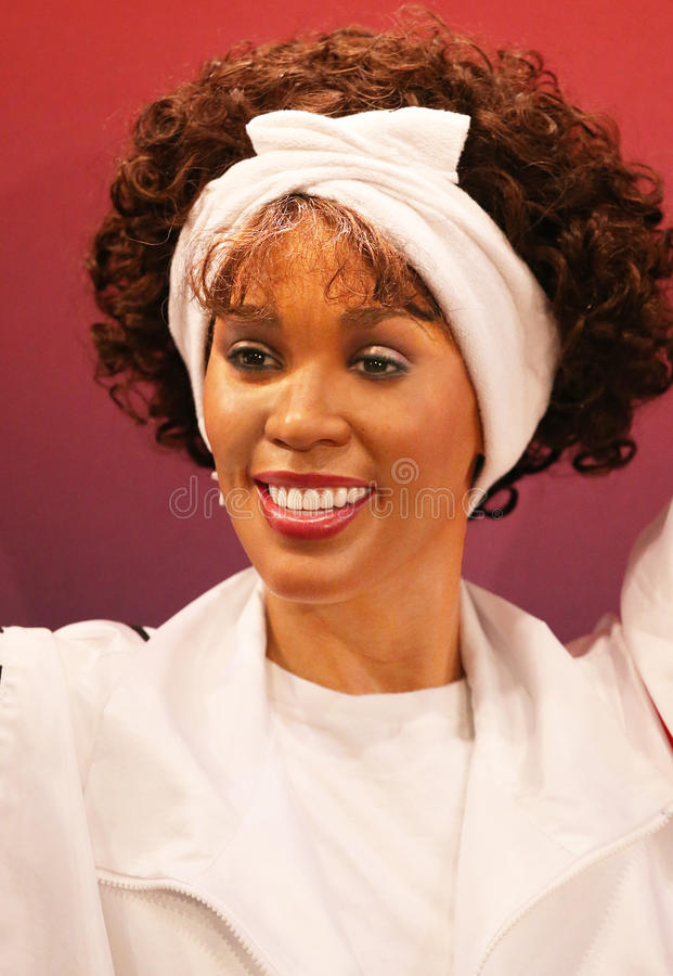 Whitney Houston Wax Figure. This wax figure of Whitney Houston was one of four unveiled at a ceremony at Madame Tussauds in New York City on February 7, 2013 royalty free stock images