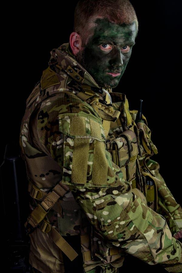 Whitpansar för militär man arkivfoto