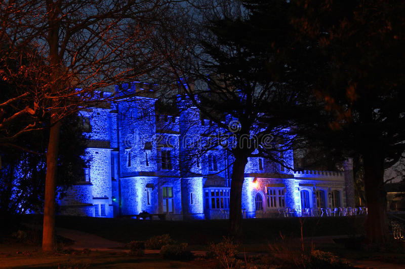 Whitstable城堡夜光 图库摄影