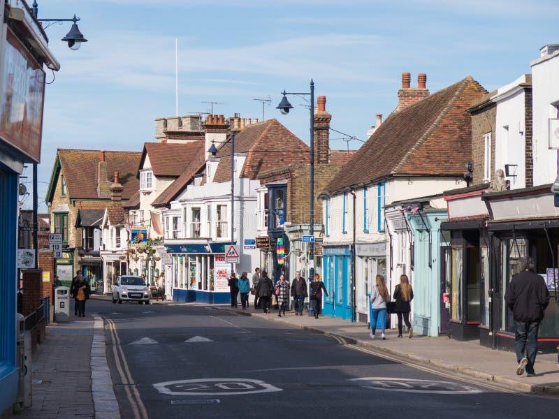 Whitstable Kent, UK - storgatan royaltyfri bild