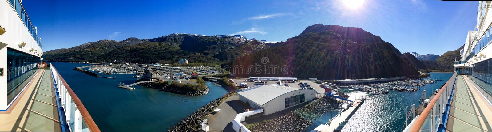 Whittier Alaska. Whittier, Alaska, USA - Sept. 10, 2016: Located approximately 65 miles southeast of Anchorage, Whittier lies at the base of the Chugach stock image