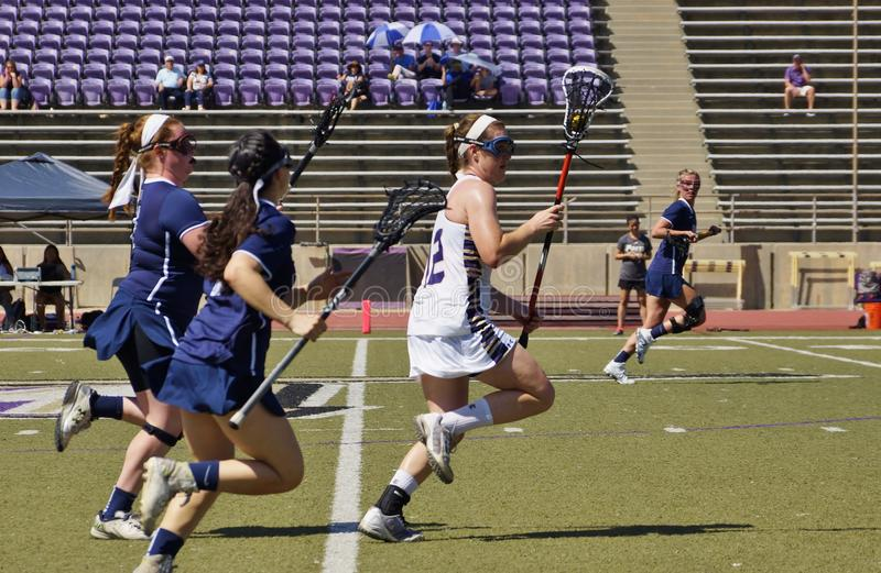 2016 03-14 Whittier Women`s Lacrosse 5 Fairleigh Dickerson 18. Fairleigh Dickerson of new Jersey defeats Whittier College of California 5-18 at whittier on a stock image