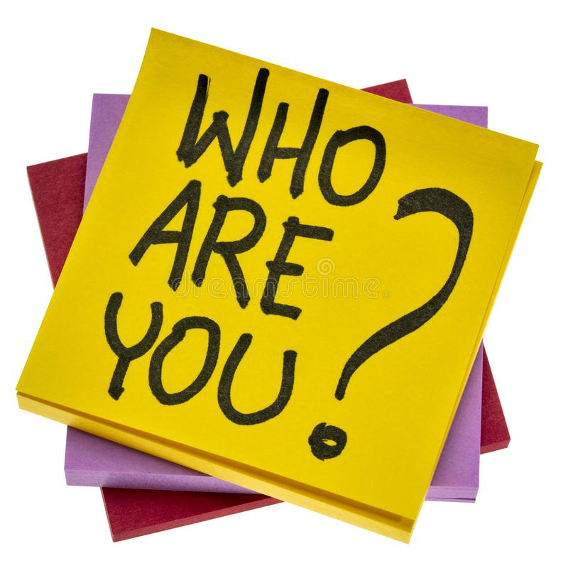 Free Who Are You Question On Sticky Note Royalty Free Stock Images - 160640499