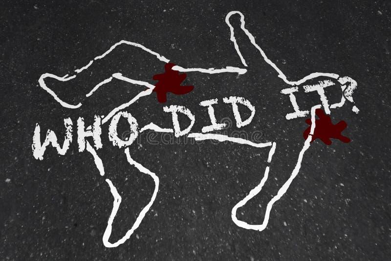 Who Did It Murder Crime Scene Suspect Chalk Outline. Illustration royalty free illustration