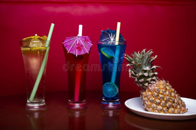 Mocktail in perfect red background with awesome color stock photos