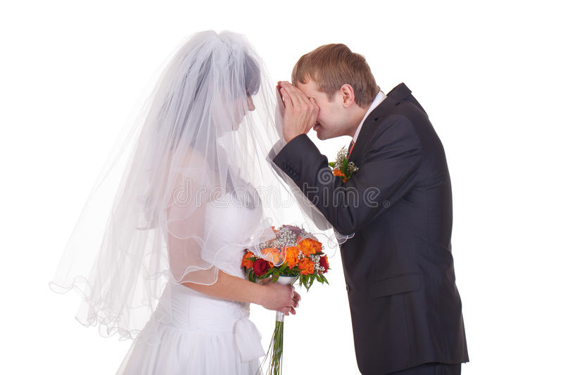 Who is the girl did I marry?. Groom takes a first look on feature wife royalty free stock images