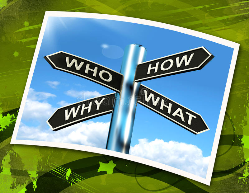 Who How Why What Questions Sign Mean Researching And Investigating royalty free illustration