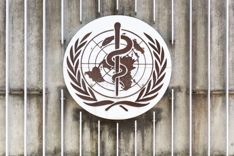 WHO-logo på en vägg arkivfoton