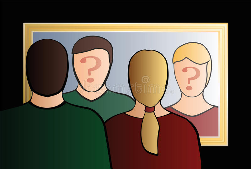Who Are We Man Woman Mirror. A man and a woman are looking into the mirror asking Who are we?. In their face is a big question mark to bring ones consciousness vector illustration