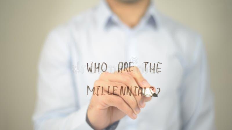 Who is Millennials, mens die op het transparante scherm schrijven royalty-vrije stock foto's