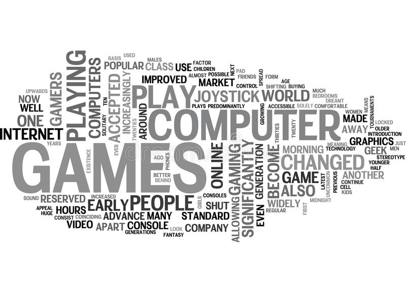 Who Plays Computer Games Word Cloud stock illustration