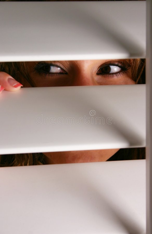 Download Who's There? stock image. Image of watching, spying, blinds - 8846997