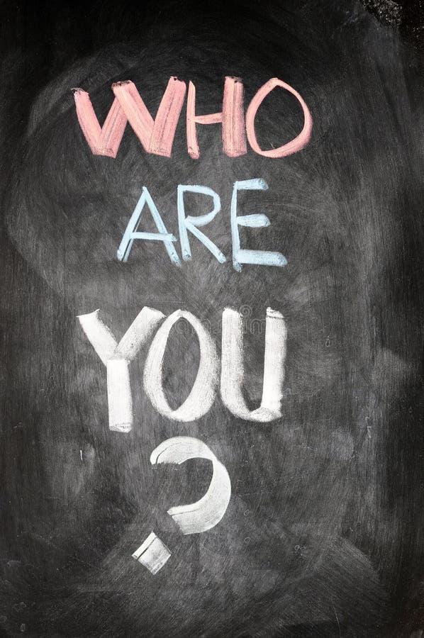 Who is u geschreven op een bord stock afbeelding