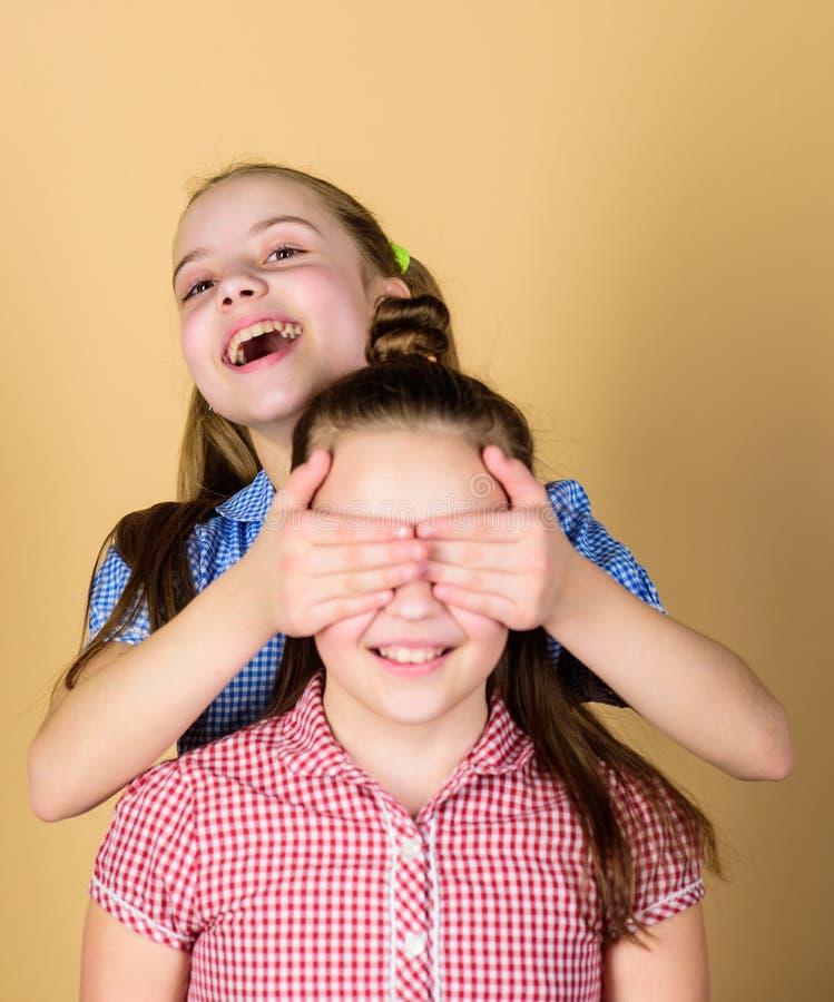 Who van de gissing Speels meisje die ogen van haar het vrolijke zuster en glimlachen behandelen Het leuke kinderen gelukkige glim stock foto's