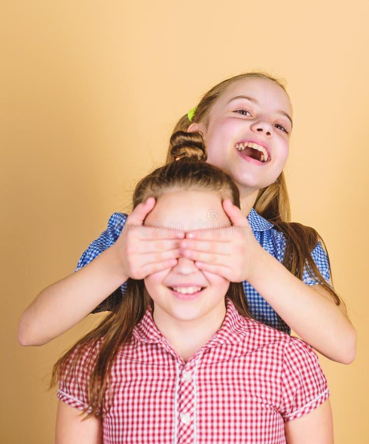 Who van de gissing Speels meisje die ogen van haar het vrolijke zuster en glimlachen behandelen Het leuke kinderen gelukkige glim stock foto