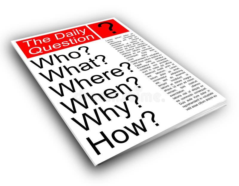 Who wat waar wanneer waarom en hoe. stock illustratie