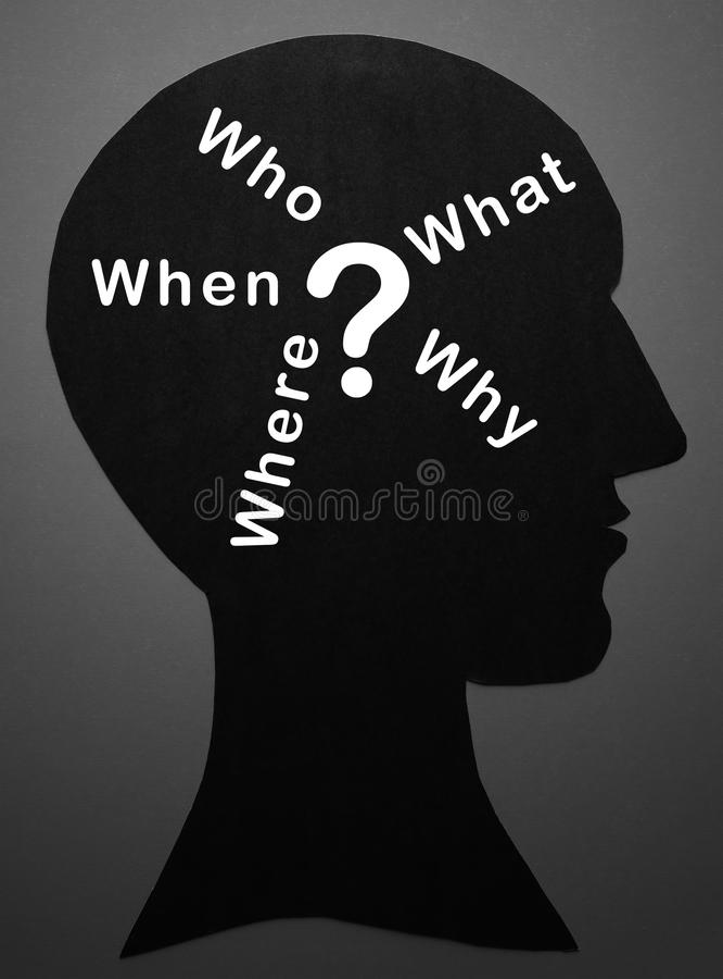 Who wat waar wanneer waarom en vraagteken in Mening stock foto's