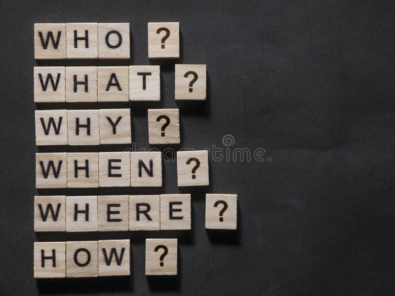 Who wat waarom wanneer waar hoe, Questional-de Woorden Concept citeert stock fotografie