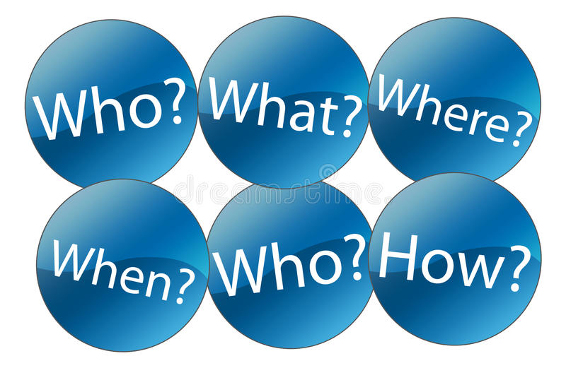 Who What Where When Why and How. Who, what, where, when, why and how icons questions on white background stock illustration