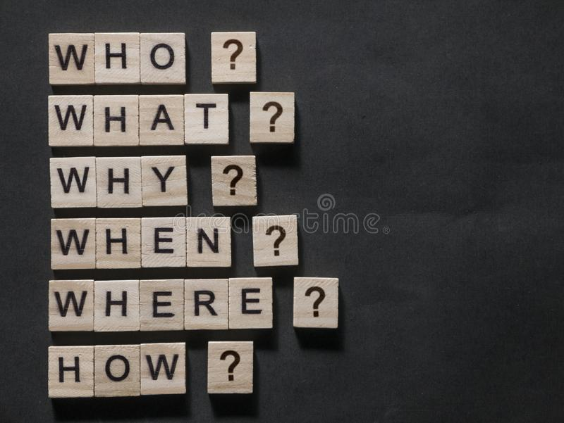 Who What Why When Where How, Questional Words Quotes Concept stock photography