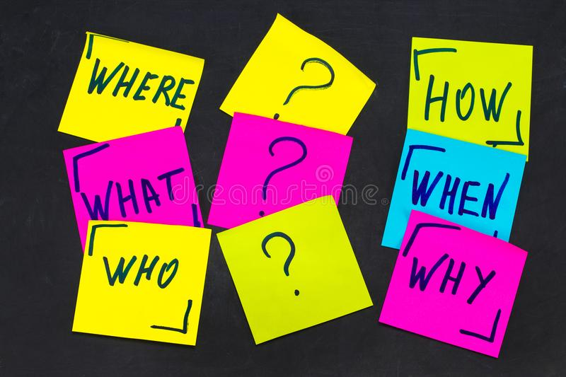 Who, why, how, what, when and where questions - uncertainty, br. Ainstorming or decision making concept, a set colorful sticky notes on the blackBoard background royalty free stock photography
