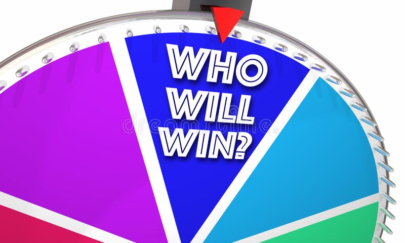 Who Will Win Game Show Spinning Wheel Words. 3d Illustration stock illustration