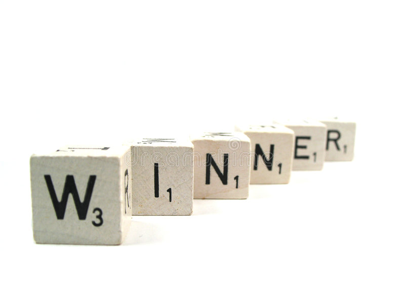 Who is the winner. Hw word winner spelled out royalty free stock photo