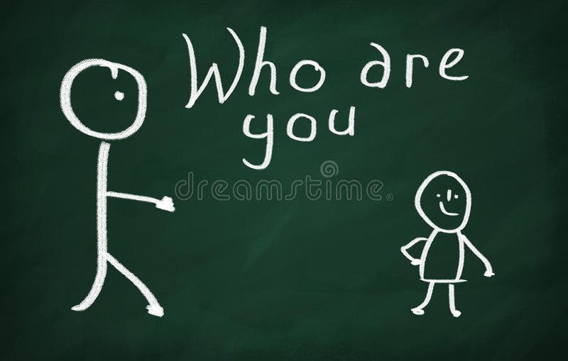 Who are you?. On the blackboard draw two characters and write Who are you vector illustration