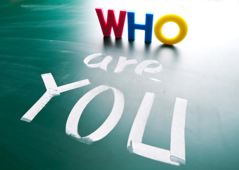 Who are you, concept words on blackboard. stock images