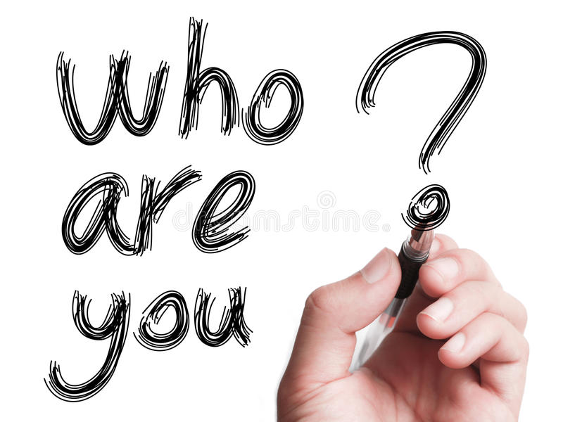 Who Are You. Hand with pen is writing Who Are You on transparent white board vector illustration