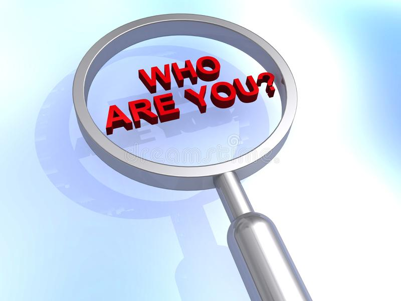 Who are you illustration. Who are you illustrated in block 3D text graphics inside magnifying glass vector illustration