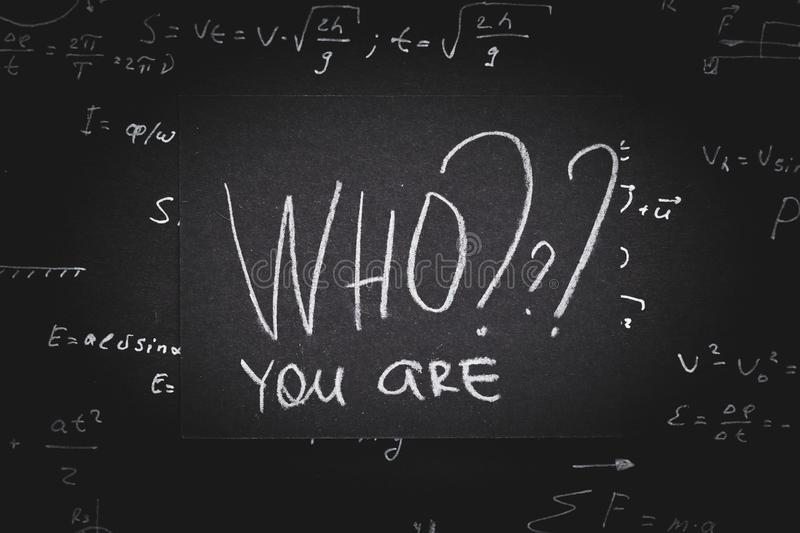 Who you self identification introspection analysis stock photography