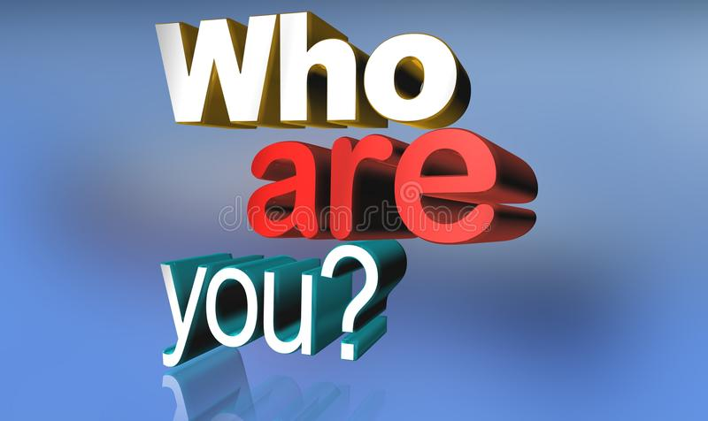Who are you. In 3D text graphics in red and white on blue background royalty free illustration