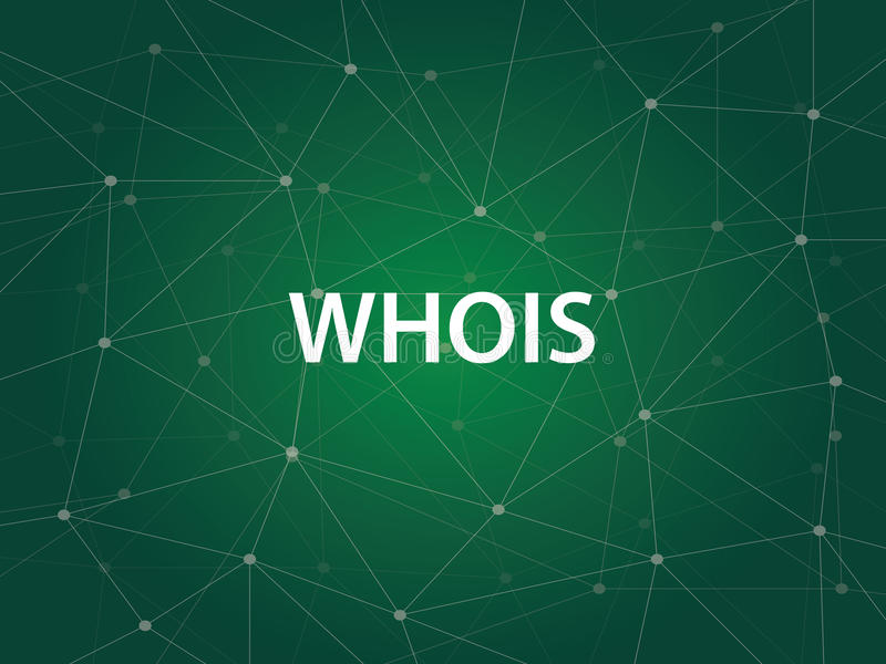 Whois an Internet utility used to search the large DNS Domain Name System database of domain names, IP addresses, and. And Web servers vector royalty free illustration