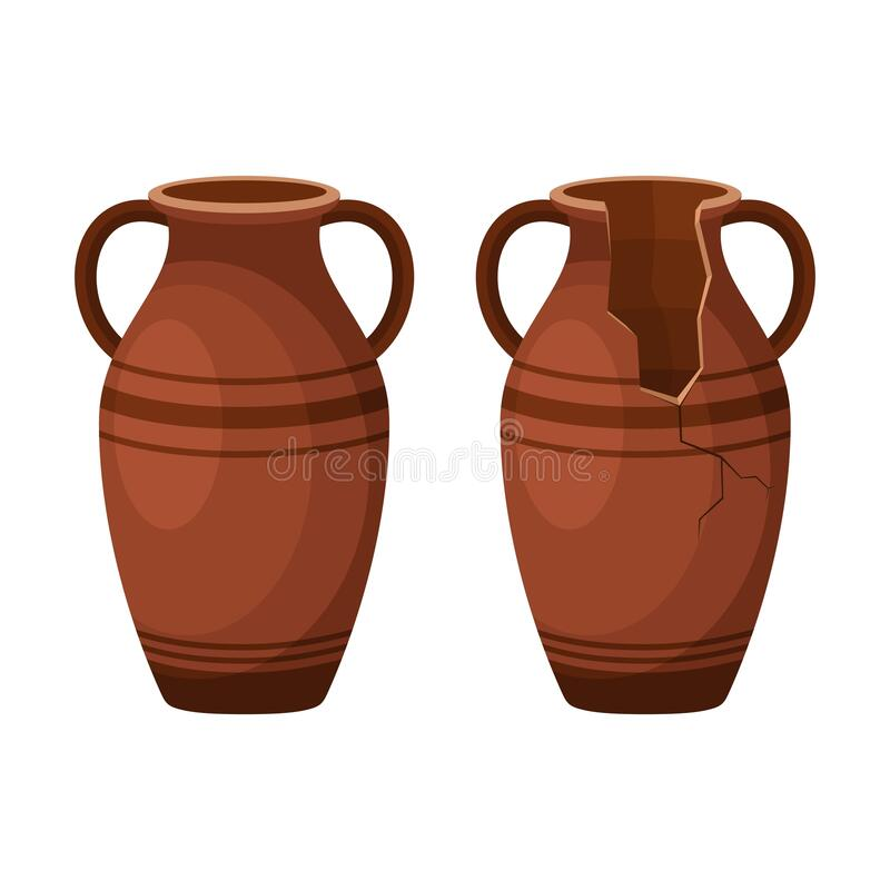 Free Whole And Broken Ancient Amphora Icon With Two Handles. Antique Clay Vase Jar, Old Traditional Vintage Pot. Ceramic Jug Stock Images - 179007044