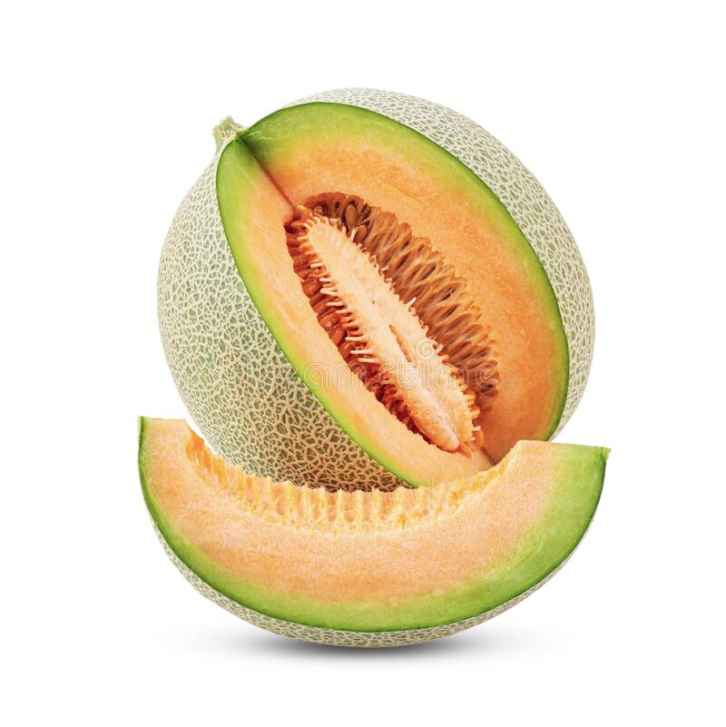 Free Whole And Slice Of Japanese Melons, Or Cantaloupe With Seeds Isolated On White Royalty Free Stock Photos - 171999768