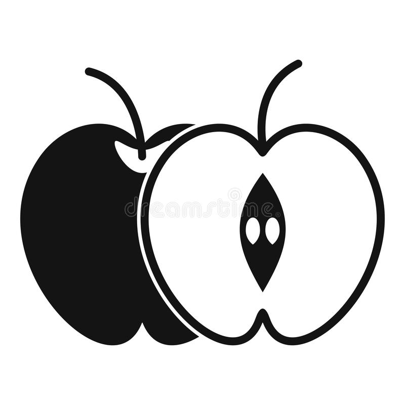 The whole apple and half icon, simple style stock illustration