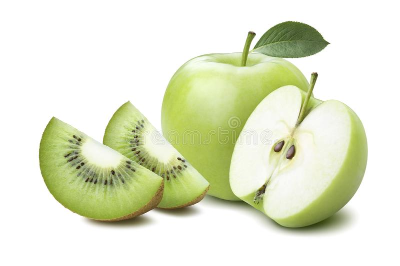 Whole apple half kiwi quarters isolated on white. Background as package design element royalty free stock photography