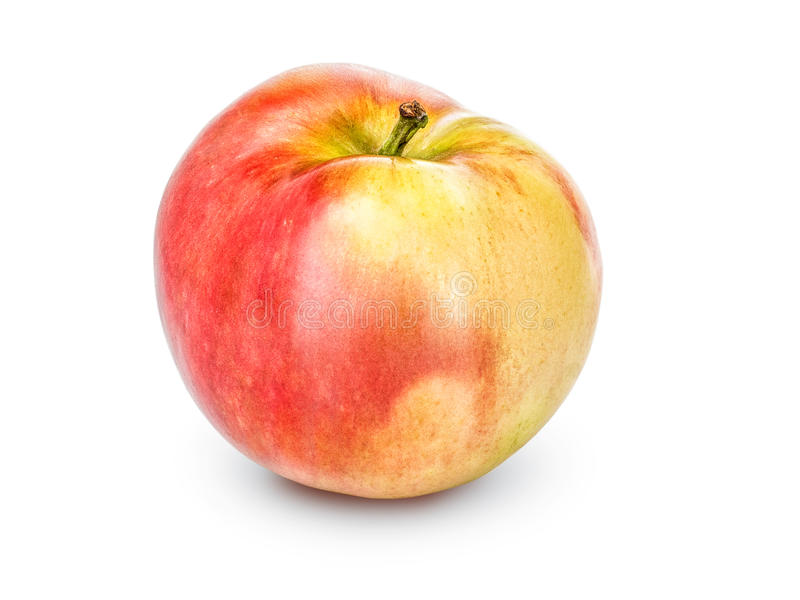 Whole apple with stalk isolated on a white background, close-up. A fresh single apple cut out with the texture and. Clipping path stock photography