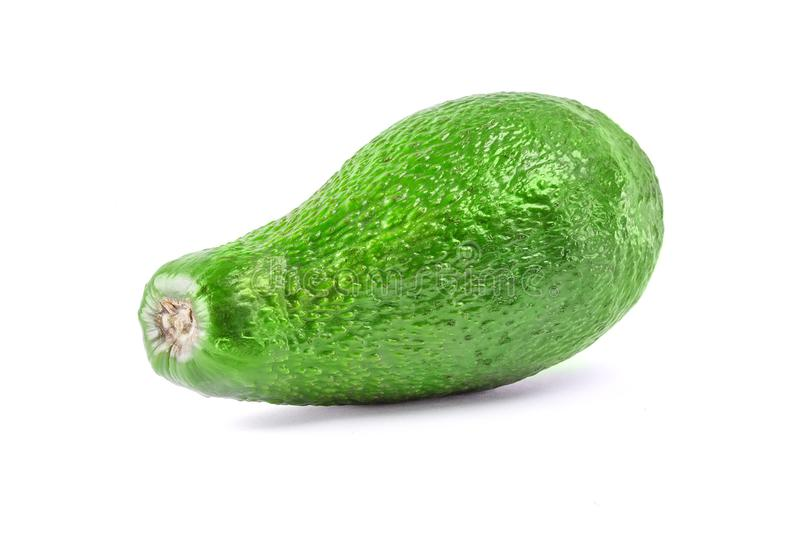 Whole avocado fruit in a row isolated on white background with clipping path royalty free stock images