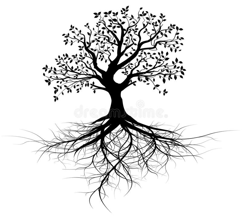 Whole black tree with roots - vector vector illustration