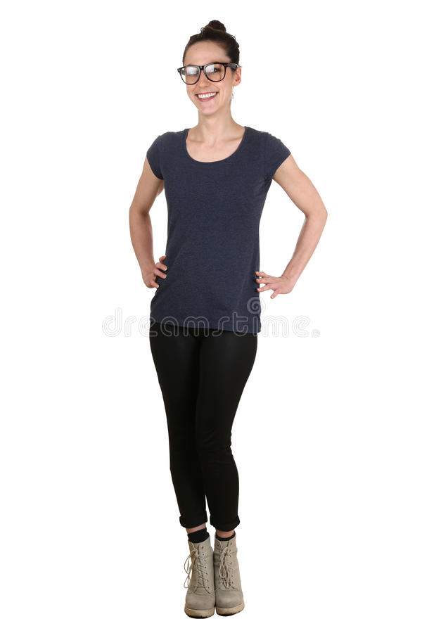 Whole body portrait of a young woman. Isolated on a white background stock photography