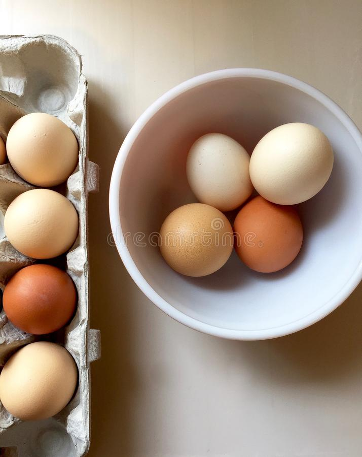 Whole brown eggs in a package and bowl royalty free stock photo