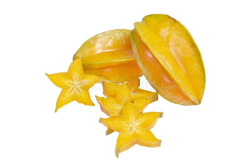 Whole Carambola, Star Fruits With Slices stock photos