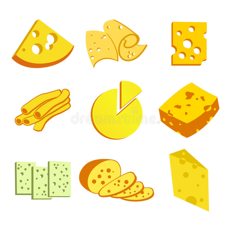 Whole cheese blocks and slices assortment doodle food icons set vecto vector illustration