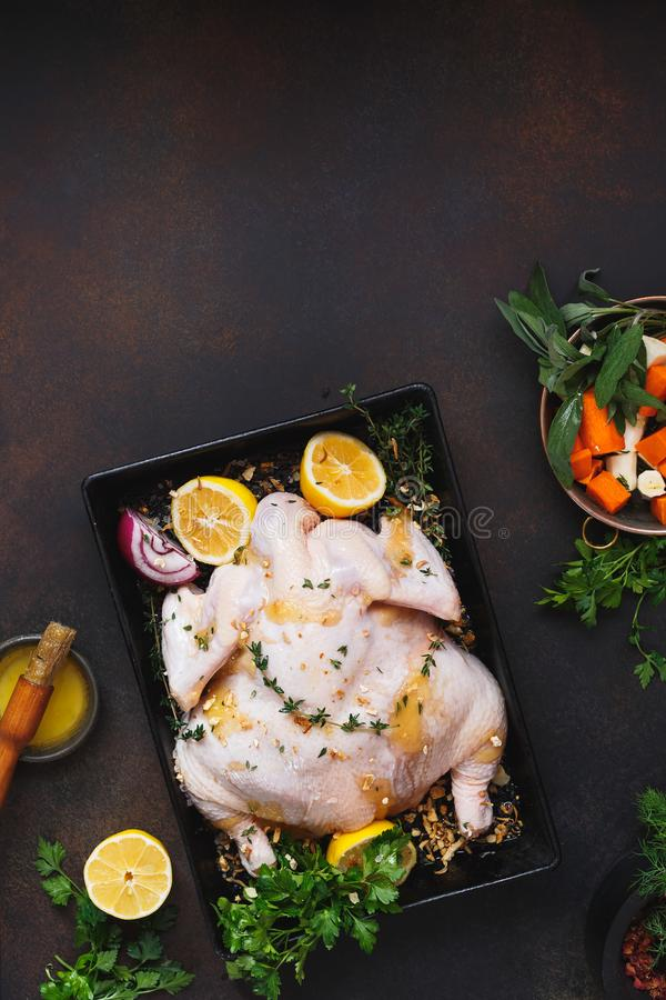 Whole chicken in roasting tin with lemon and herbs stock photography