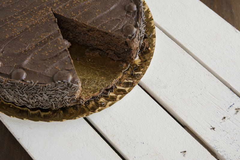 Whole chocolate cake. Horizontal image royalty free stock images