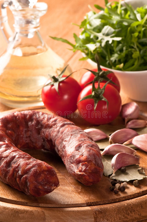 Whole Chorizo Sausage stock photo
