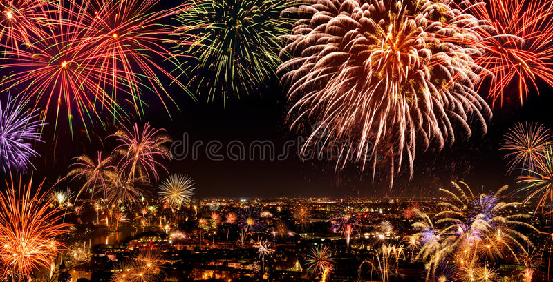 Whole city celebrating with fireworks royalty free stock images